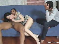 This guy has a nice job and fucks his white girlfriend right but it's still not enough to satisfy this greedy cock-craving slut. She wants more and when he decides to hook her up with his rich black teammate she looks really excited. She always wanted to see even if that guy's cock was as perfect as his body and now she can finally take it balls deep in her tight juicy pussy moaning out loud and horde her boyfriend extremely jealous and desperate.